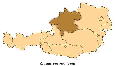 Map of Austria, Upper Austria highlighted
