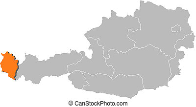 Map of Austria, Vorarlberg highlighted - Political map of...