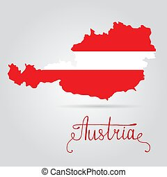 Map of Austria with an official flag. Austria flag on map of country on white background.
