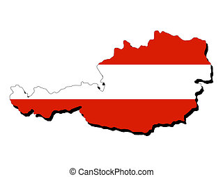 map of Austria with flag - map of Austria and Austrian flag...