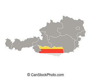 Map of Austria with flag of Carinthia