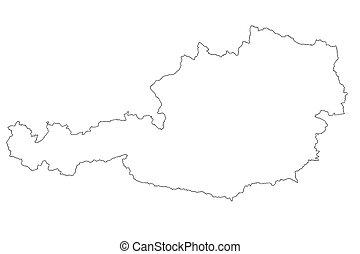 Map of Austria with isolated on white background