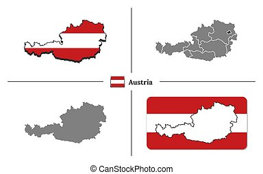Map of Austria with national flag and state regions in vector set