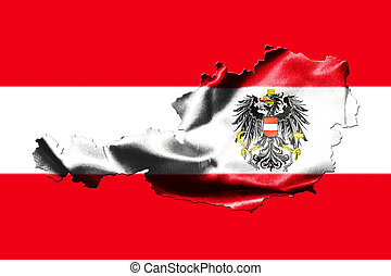 Map of Austria with national flag
