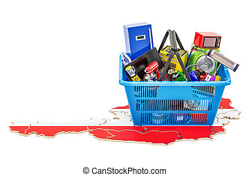 Map of Austria with shopping basket full of home and kitchen appliances, 3D rendering