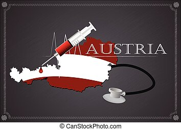 Map of Austria with Stethoscope and syringe.