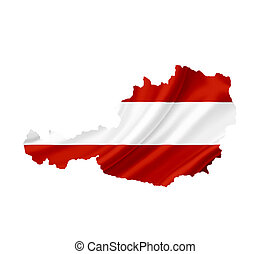 Map of Austria with waving flag isolated on white