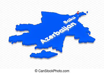 Map of Azerbaijan. 3D isometric perspective illustration.