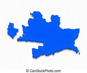Map of Azerbaijan. 3D isometric perspective illustration.