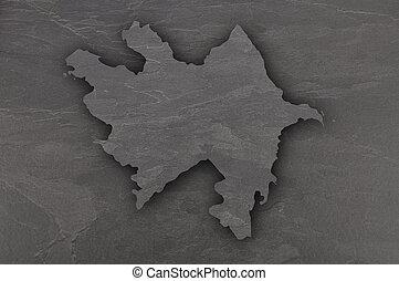 Map of Azerbaijan on dark slate