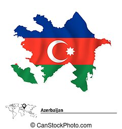 Map of Azerbaijan with flag