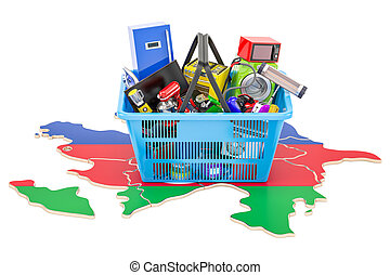 Map of Azerbaijan with shopping basket full of home and kitchen appliances, 3D rendering