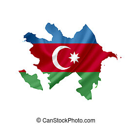 Map of Azerbaijan with waving flag isolated on white
