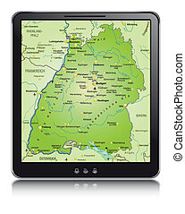 Map of Baden-Wuerttemberg as a mobile phone