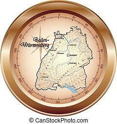 Map of Baden-Wuerttemberg as an overview map in bronze