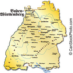 Map of Baden-Wuerttemberg as an overview map in gold