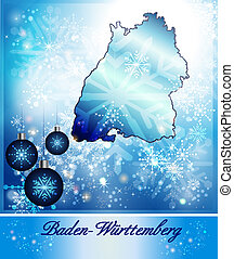 Map of Baden-Wuerttemberg in Christmas Design in blue