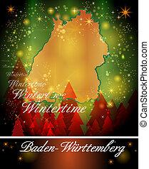 Map of Baden-Wuerttemberg in Christmas Design