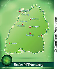 Map of Baden-Wuerttemberg with abstract background in green