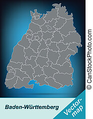 Map of Baden-Wuerttemberg with borders in bright gray
