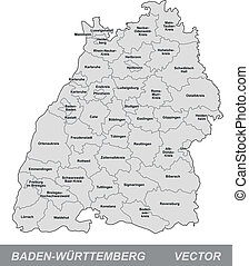 Map of Baden-Wuerttemberg with borders in gray