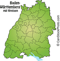 Map of Baden-Wuerttemberg with borders in green