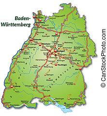 Map of Baden-Wuerttemberg with highways