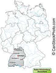 Map of Baden-Wuerttemberg with main cities in gray