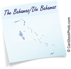 Map of Bahamas as sticky note