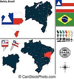 Map of Bahia, Brazil - Vector map of region of Bahia with ...