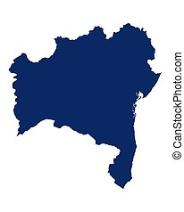 Map of Bahia in blue colour