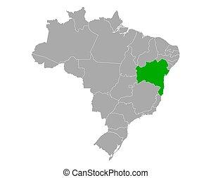 Map of Bahia in Brazil