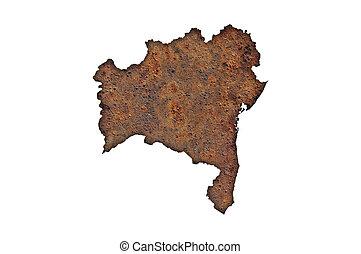 Map of Bahia on rusty metal