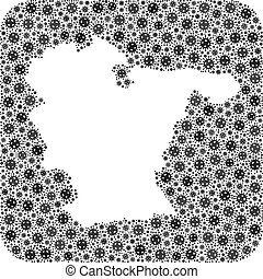 Map of Bahia State - SARS Virus Mosaic with Empty Space - ...