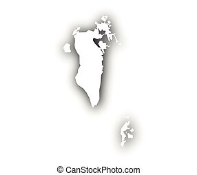 Map of Bahrain with shadow