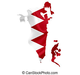 Map of Bahrain with waving flag isolated on white