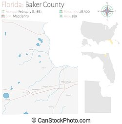 Map of Baker County in Florida