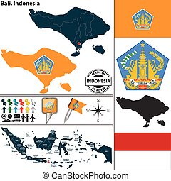 Map of Bali, Indonesia - Vector map of region Bali with coat...