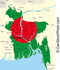 map of Bangladesh country colored by national flag