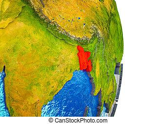 Map of Bangladesh on 3D Earth