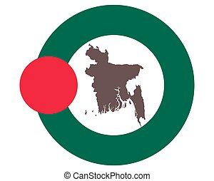 Map of Bangladesh on background with flag