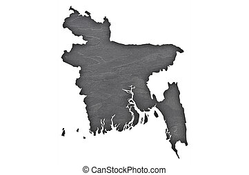Map of Bangladesh on dark slate