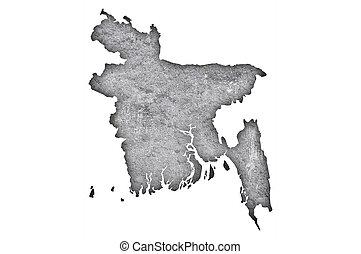 Map of Bangladesh on weathered concrete