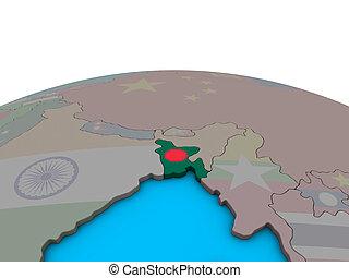 Map of Bangladesh with flag on globe