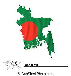 Map of Bangladesh with flag