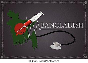 Map of  Bangladesh with Stethoscope and syringe.