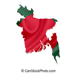 Map of Bangladesh with waving flag isolated on white