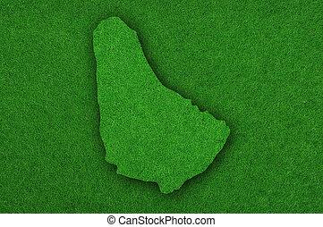Map of Barbados on green felt