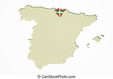 Map of Basque country and flag - 3d rendering of map of ...