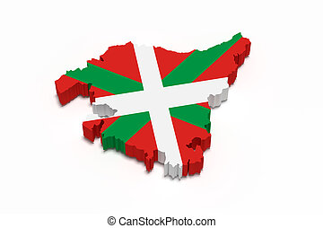 Map of Basque country and flag - 3d rendering of map of...